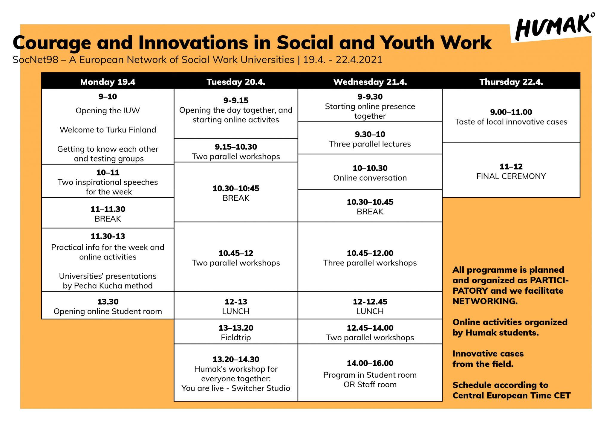 Socnet's schedule.